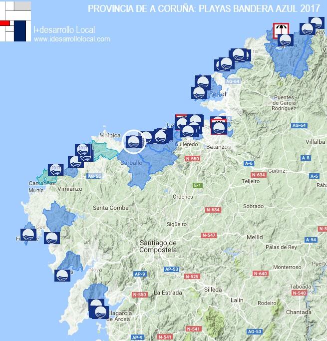 Playas De Galicia Bandera Azul 2017 En La Provincia De A Coruna